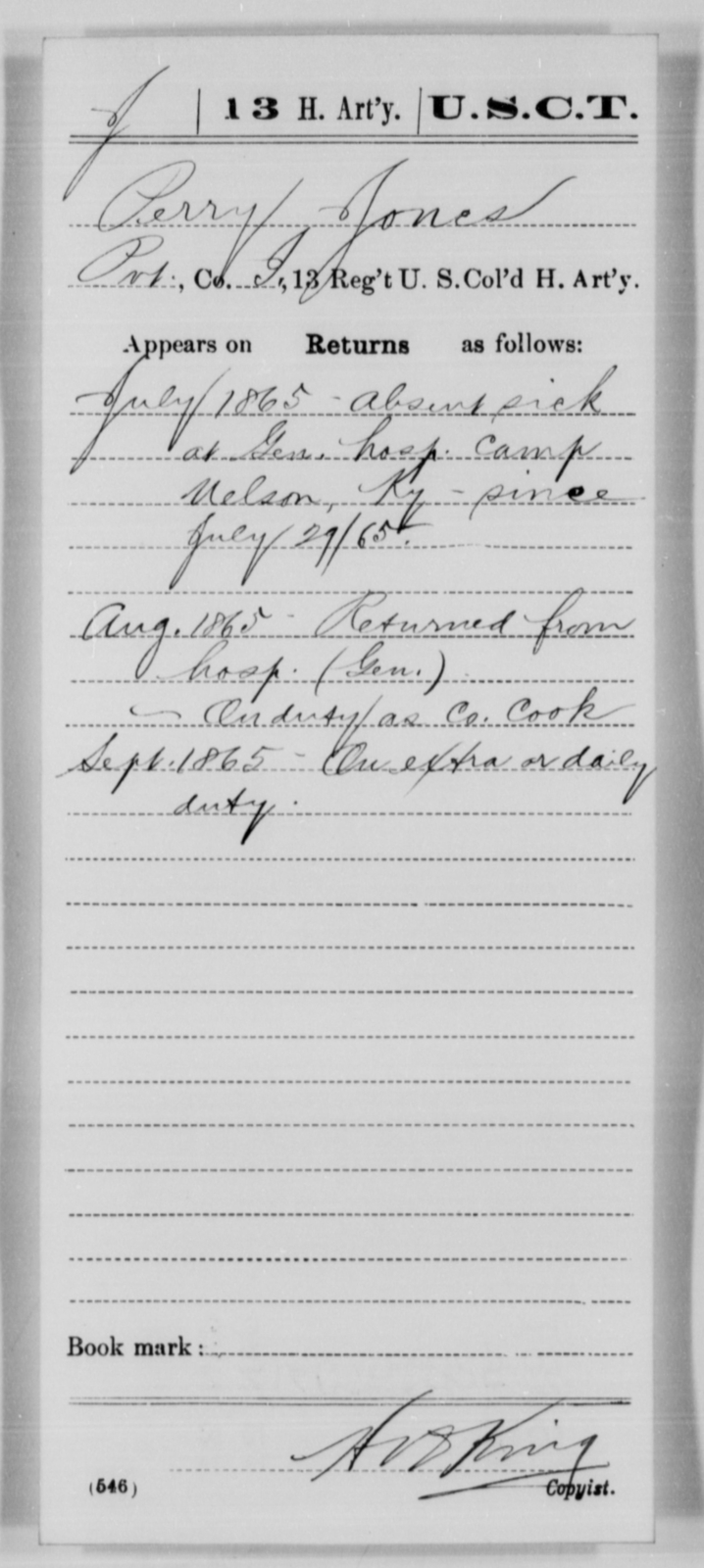 Jones, Perry - Age [Blank], Year: 1865 - 13th US Colored Heavy Artillery, Misc Cards - United States Colored Troops: Artillery Organizations