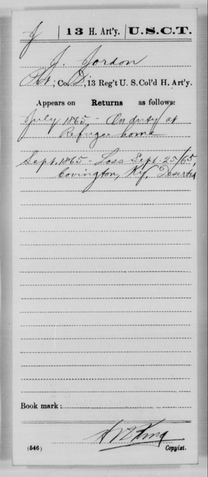 Jordon, J - Age [Blank], Year: 1865 - 13th US Colored Heavy Artillery, Misc Cards - United States Colored Troops: Artillery Organizations