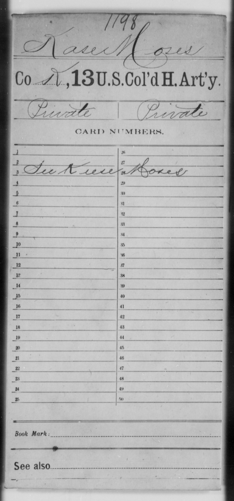 Kase, Moses - Age [Blank], Year: [Blank] - 13th US Colored Heavy Artillery - United States Colored Troops: Artillery Organizations