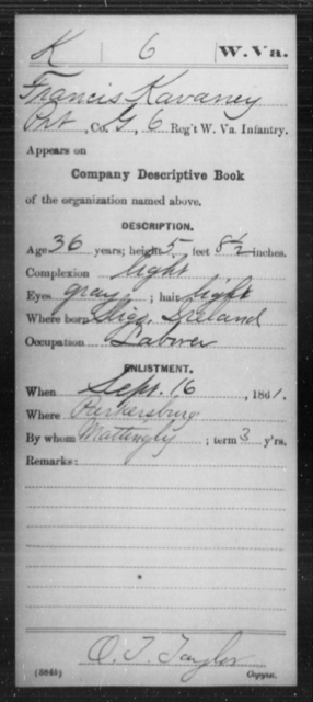 Kavaney, Francis - Age 36, Year: 1861 - Miscellaneous Card Abstracts of Records - West Virginia