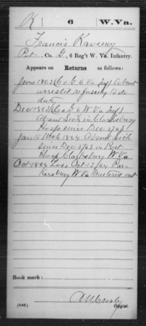 Kaveney, Francis - Age 36, Year: 1861 - Miscellaneous Card Abstracts of Records - West Virginia
