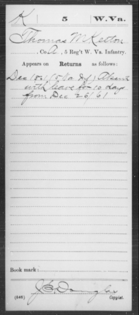 Keeton, Thomas M - Age [Blank], Year: 1861 - Miscellaneous Card Abstracts of Records - West Virginia