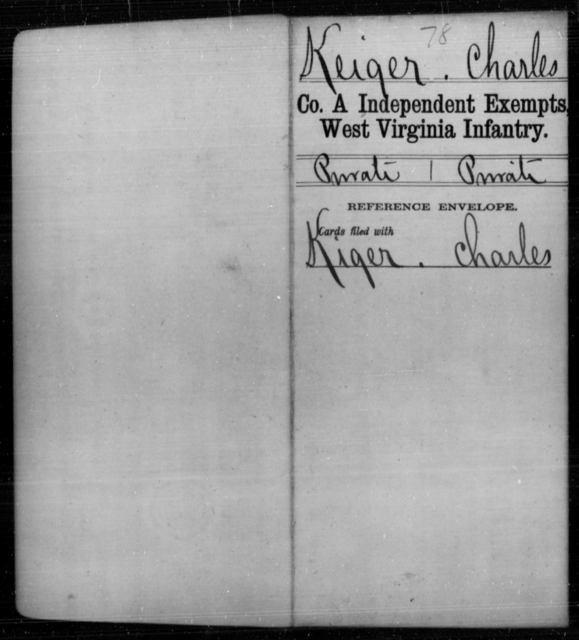 Keiger, Charles - Age [Blank], Year: [Blank] - Independent Company A, Infantry AND Independent Company B, Infantry AND Unassigned Men, M-S - West Virginia