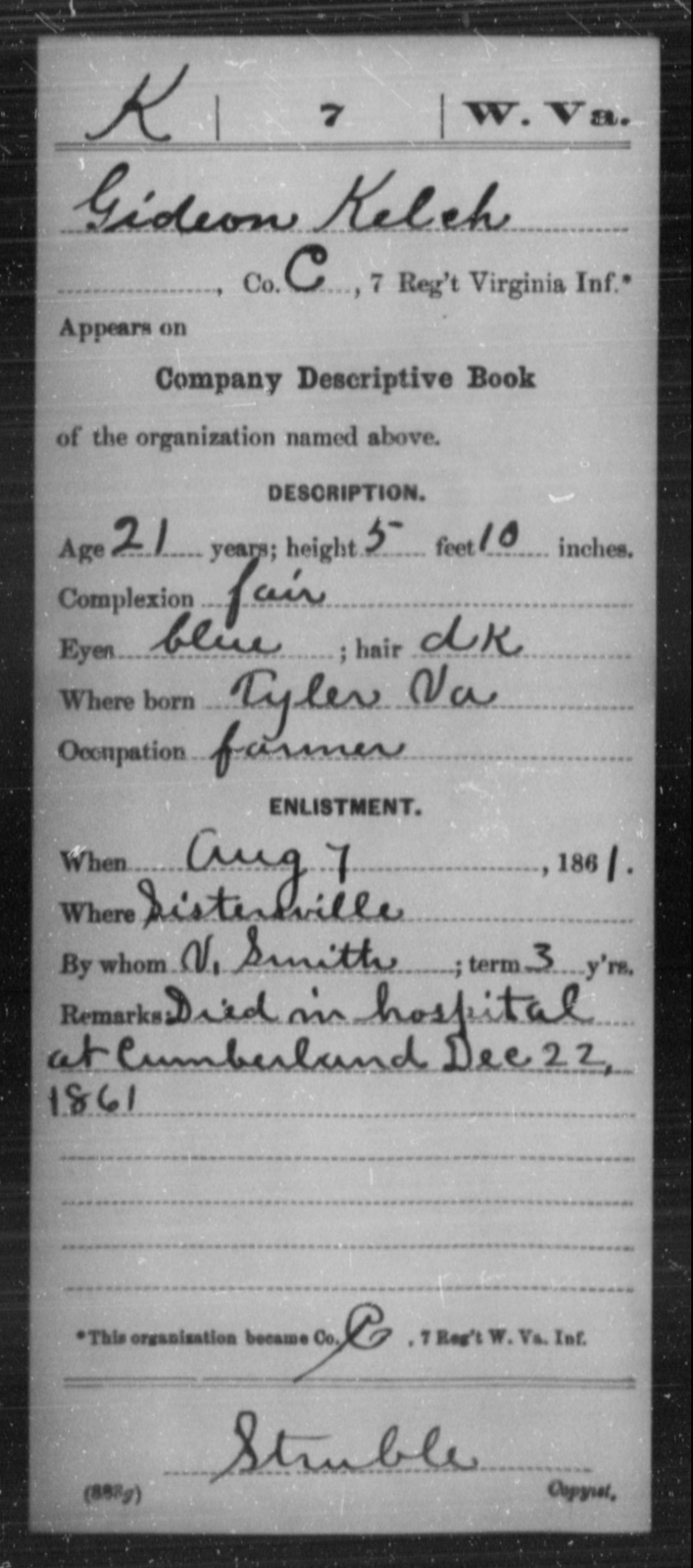 Kelch, Gideon - Age 21, Year: 1861 - Miscellaneous Card Abstracts of Records - West Virginia