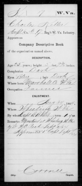 Keller, Charles - Age 25, Year: 1864 - Miscellaneous Card Abstracts of Records - West Virginia