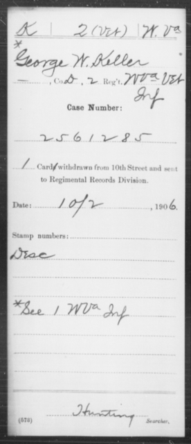 Keller, George W - Age [Blank], Year: [Blank] - Miscellaneous Card Abstracts of Records - West Virginia