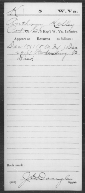 Kelley, Anthony - Age [Blank], Year: 1861 - Miscellaneous Card Abstracts of Records - West Virginia