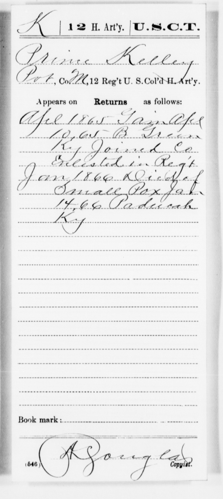 Kelley, Prince - Age [Blank], Year: 1865 - 12th US Colored Heavy Artillery, Misc Cards, H-Y - United States Colored Troops: Artillery Organizations