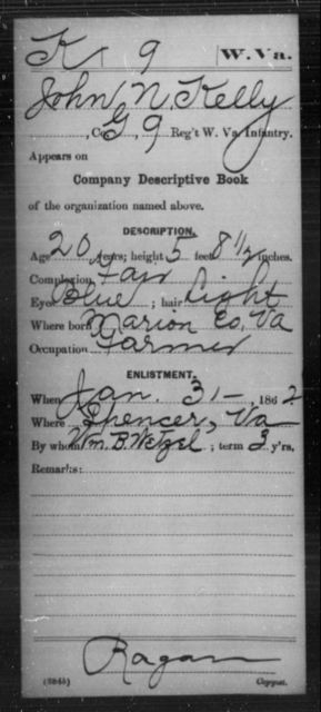 Kelly, John N - Age 20, Year: 1862 - Miscellaneous Card Abstracts of Records - West Virginia