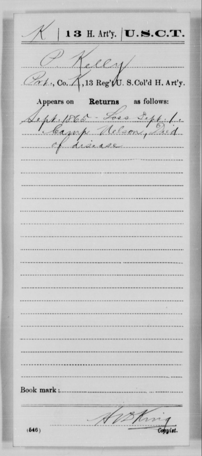Kelly, P - Age [Blank], Year: 1865 - 13th US Colored Heavy Artillery, Misc Cards - United States Colored Troops: Artillery Organizations