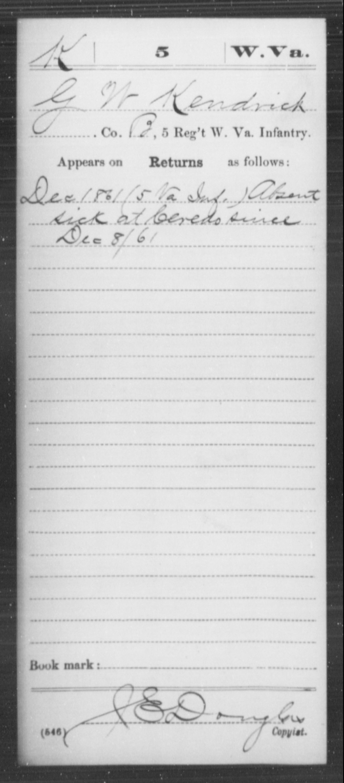 Kendrick, G W - Age [Blank], Year: 1861 - Miscellaneous Card Abstracts of Records - West Virginia