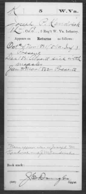 Kendrick, Joseph P - Age [Blank], Year: 1861 - Miscellaneous Card Abstracts of Records - West Virginia