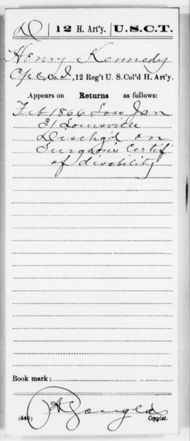 Kennedy, Henry - Age [Blank], Year: [Blank] - 12th US Colored Heavy Artillery, Misc Cards, H-Y - United States Colored Troops: Artillery Organizations