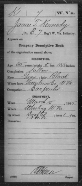 Kennedy, James T - Age 35, Year: 1865 - Miscellaneous Card Abstracts of Records - West Virginia