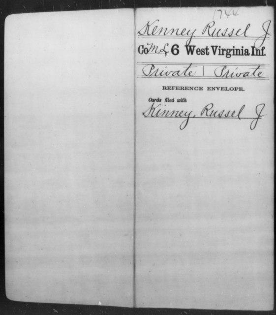 Kenney, Russel J - Age [Blank], Year: [Blank] - Sixth Infantry - West Virginia