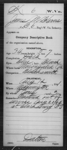 Kerns, James M - Age 34, Year: 1861 - Miscellaneous Card Abstracts of Records - West Virginia
