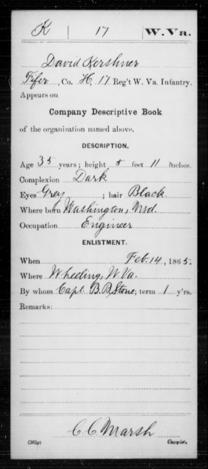 Kershner, David - Age 35, Year: 1865 - Miscellaneous Card Abstracts of Records - West Virginia