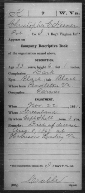 Kesner, Christopher C - Age 33, Year: 1861 - Miscellaneous Card Abstracts of Records - West Virginia