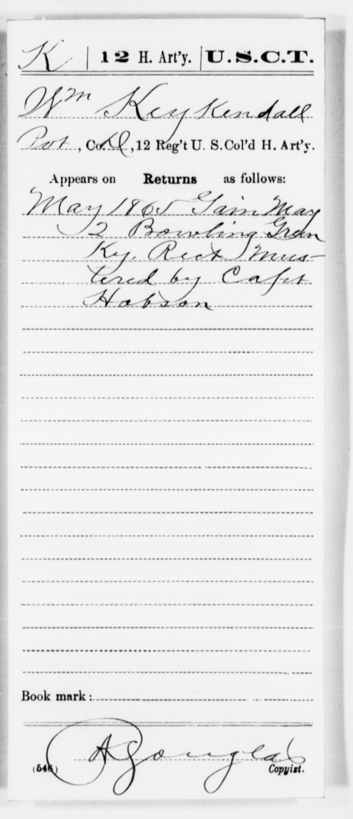 Keykendall, Wm - Age [Blank], Year: 1865 - 12th US Colored Heavy Artillery, Misc Cards, H-Y - United States Colored Troops: Artillery Organizations