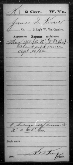 Kimer, James D - Age [Blank], Year: 1862 - Miscellaneous Card Abstracts of Records - West Virginia