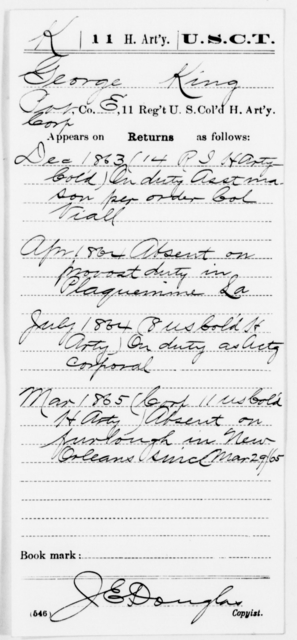 King, George - Age [Blank], Year: 1863 - 11th US Colored Heavy Artillery, Misc Cards, E-Y - United States Colored Troops: Artillery Organizations