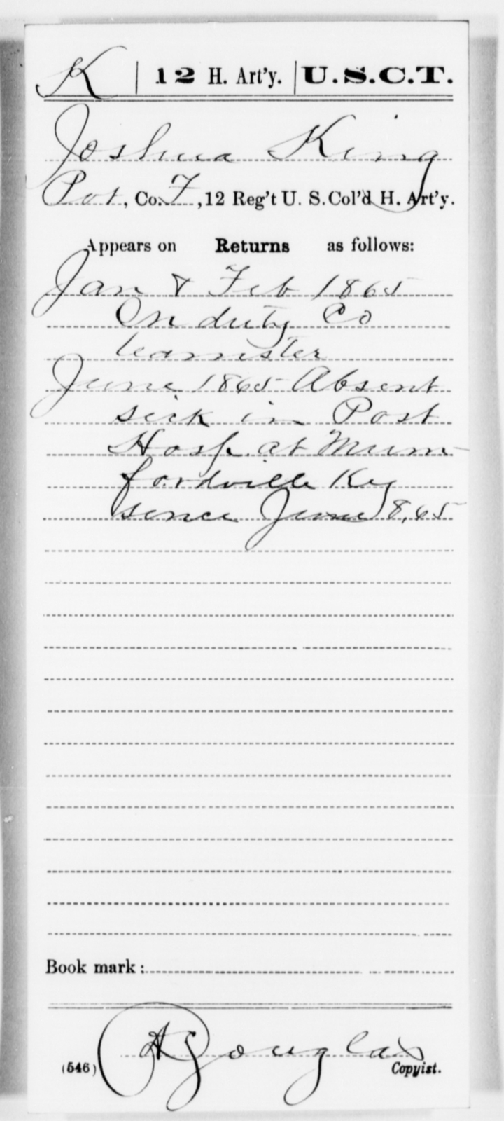 King, Joshua - Age [Blank], Year: 1865 - 12th US Colored Heavy Artillery, Misc Cards, H-Y - United States Colored Troops: Artillery Organizations