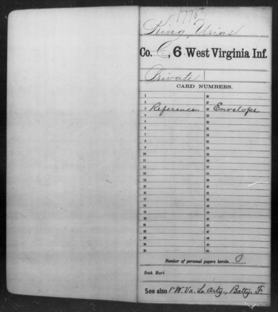 King, Urias - Age [Blank], Year: [Blank] - Sixth Infantry - West Virginia
