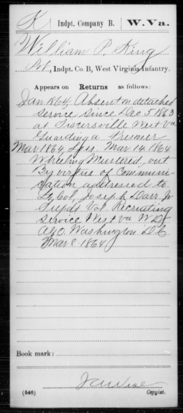 King, William P - Age [Blank], Year: 1864 - Miscellaneous Card Abstracts of Records - West Virginia
