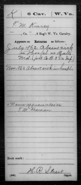 Kinney, T M - Age [Blank], Year: 1862 - Miscellaneous Card Abstracts of Records - West Virginia