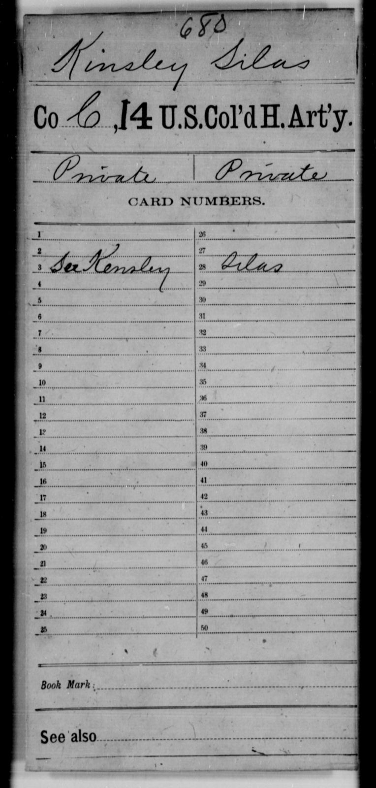 Kinsley, Silas - Age [Blank], Year: [Blank] - 14th US Colored Heavy Artillery - United States Colored Troops: Artillery Organizations