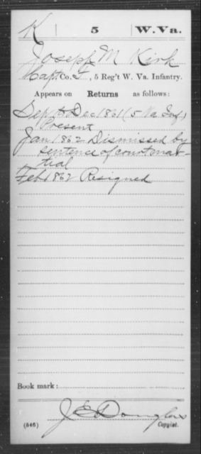 Kirk, Joseph M - Age [Blank], Year: 1861 - Miscellaneous Card Abstracts of Records - West Virginia