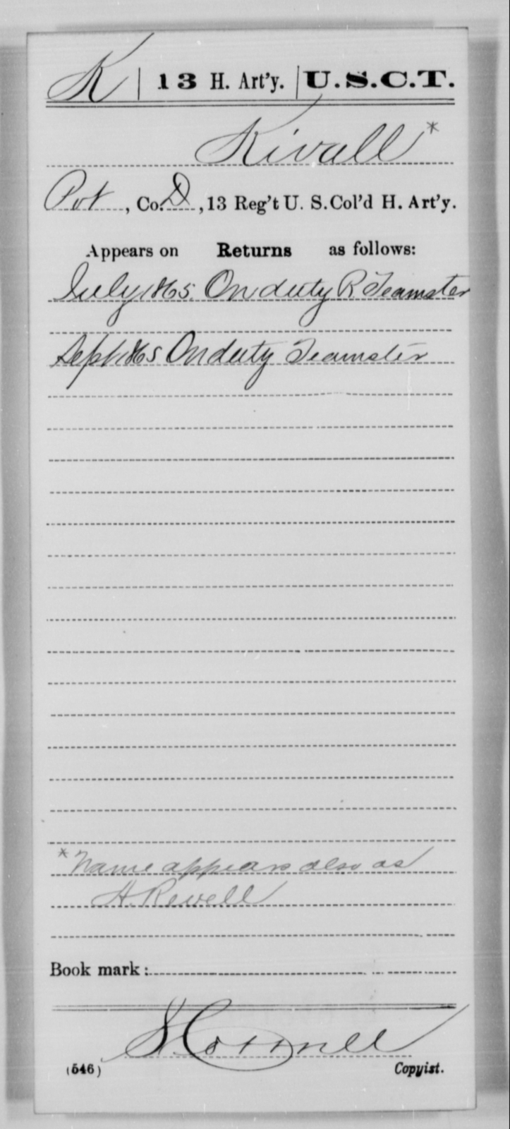 Kivall, [Blank] - Age [Blank], Year: 1865 - 13th US Colored Heavy Artillery, Misc Cards - United States Colored Troops: Artillery Organizations