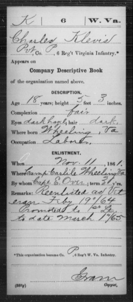 Klevis, Charles - Age 18, Year: 1861 - Miscellaneous Card Abstracts of Records - West Virginia