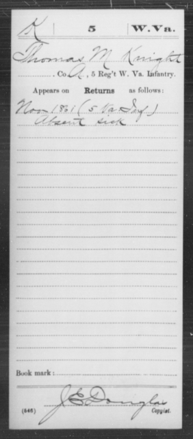Knight, Thomas M - Age [Blank], Year: 1861 - Miscellaneous Card Abstracts of Records - West Virginia