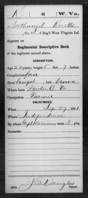 Knotts, Nathaniel - Age 20, Year: 1861 - Miscellaneous Card Abstracts of Records - West Virginia