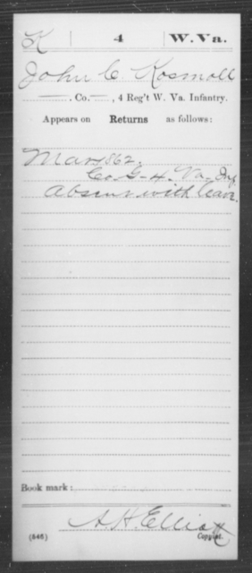 Kosmoll, John C - Age [Blank], Year: 1862 - Miscellaneous Card Abstracts of Records - West Virginia