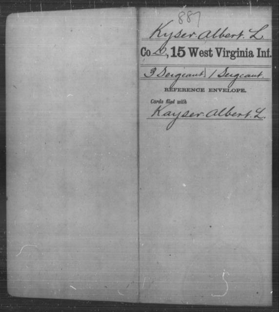 Kyser, Albert L - Age [Blank], Year: [Blank] - Fifteenth Infantry - West Virginia