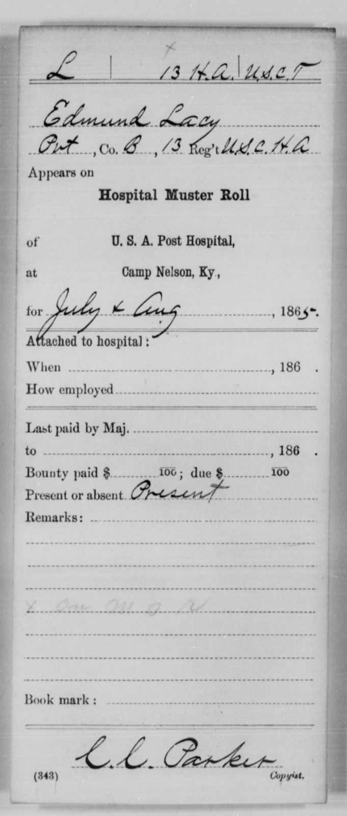 Lacy, Edmund - Age [Blank], Year: 1865 - 13th US Colored Heavy Artillery, Misc Cards - United States Colored Troops: Artillery Organizations