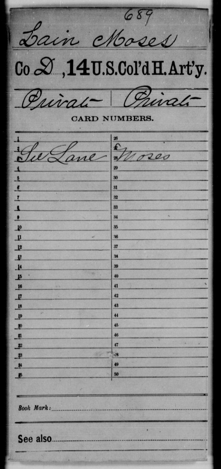 Lain, Moses - Age [Blank], Year: [Blank] - 14th US Colored Heavy Artillery - United States Colored Troops: Artillery Organizations