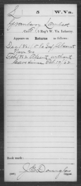 Lambert, Granberry - Age [Blank], Year: 1861 - Miscellaneous Card Abstracts of Records - West Virginia