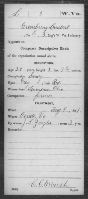 Lambert, Greenberry - Age 20, Year: 1861 - Miscellaneous Card Abstracts of Records - West Virginia