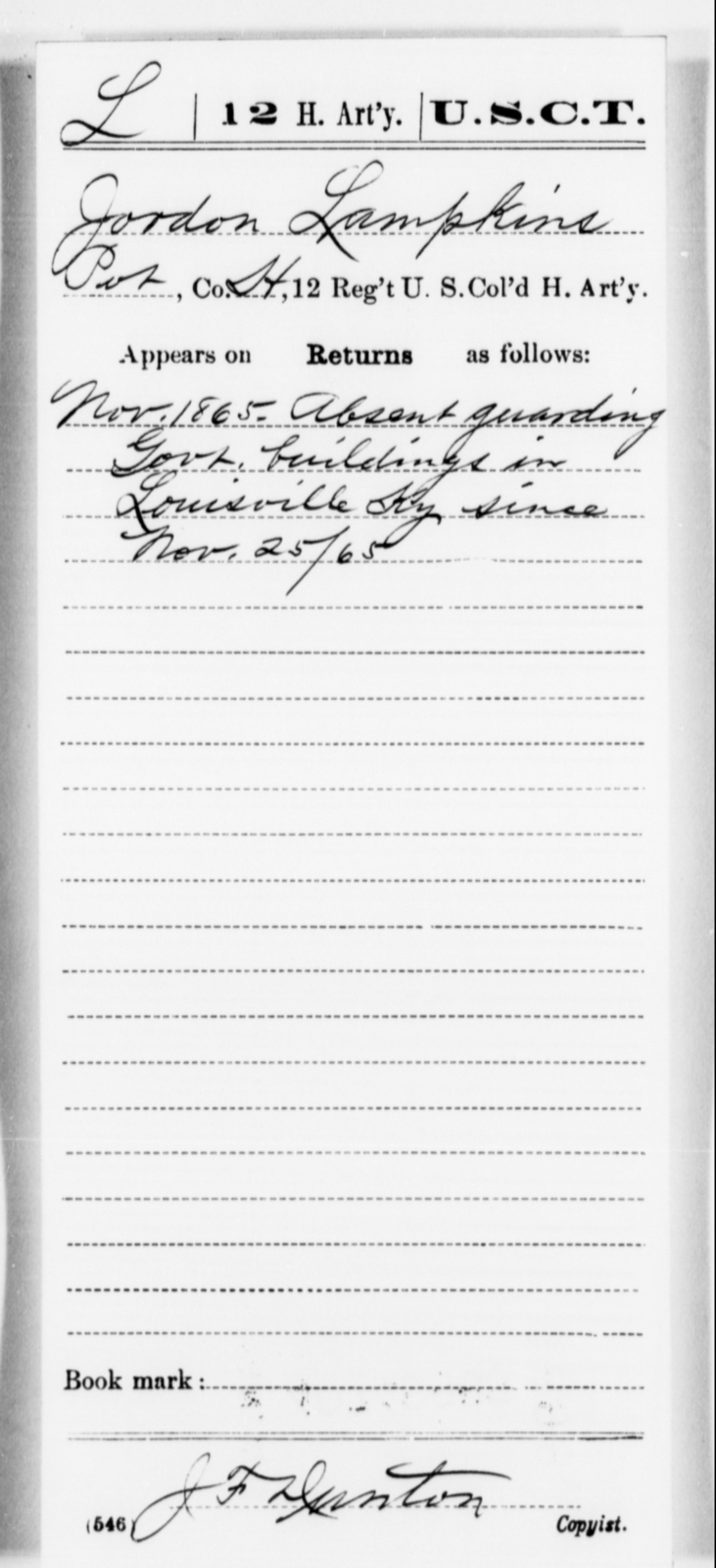 Lampkins, Jordon - Age [Blank], Year: 1865 - 12th US Colored Heavy Artillery, Misc Cards, H-Y - United States Colored Troops: Artillery Organizations
