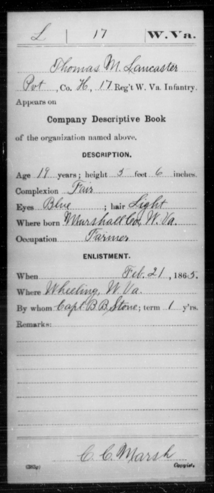 Lancaster, Thomas M - Age 19, Year: 1865 - Miscellaneous Card Abstracts of Records - West Virginia