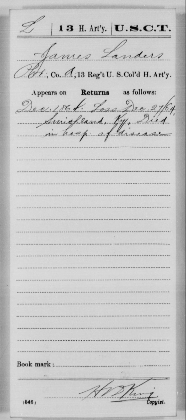 Landers, James - Age [Blank], Year: 1864 - 13th US Colored Heavy Artillery, Misc Cards - United States Colored Troops: Artillery Organizations