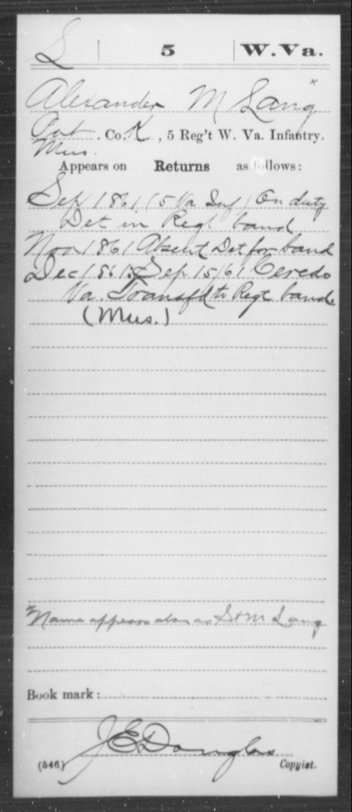 Lang, Alexander M - Age [Blank], Year: 1861 - Miscellaneous Card Abstracts of Records - West Virginia