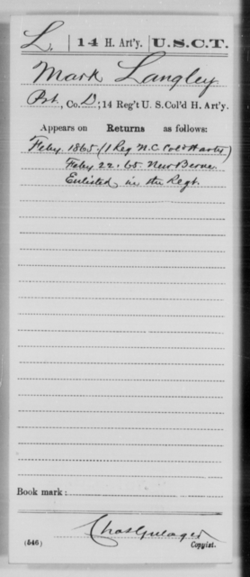 Langley, Mark - Age [Blank], Year: 1865 - 14th US Colored Heavy Artillery, Wi-Y AND Misc Cards - United States Colored Troops: Artillery Organizations