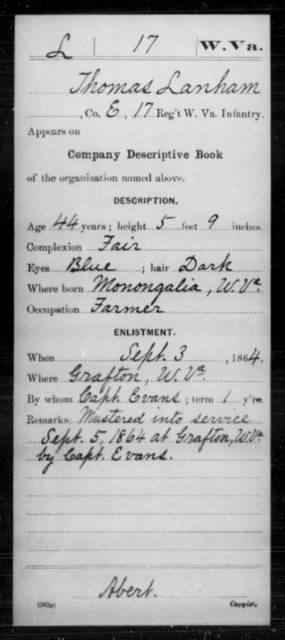 Lanham, Thomas - Age 44, Year: 1864 - Miscellaneous Card Abstracts of Records - West Virginia