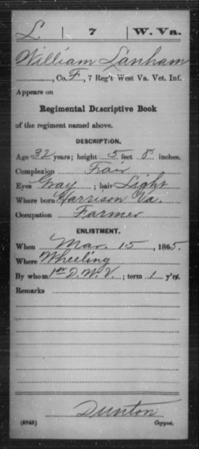 Lanham, William - Age 32, Year: 1865 - Miscellaneous Card Abstracts of Records - West Virginia
