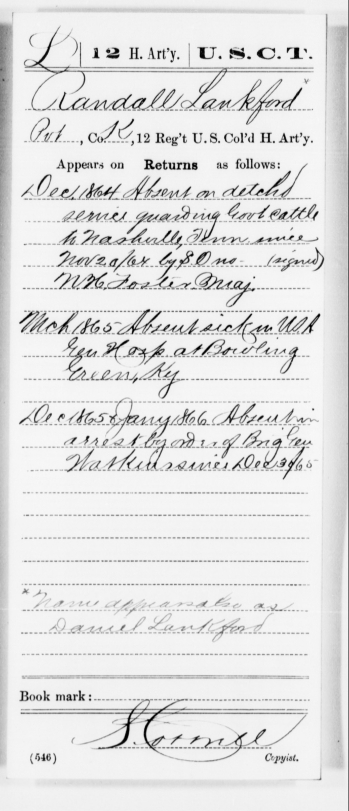 Lankford, Randall - Age [Blank], Year: 1864 - 12th US Colored Heavy Artillery, Misc Cards, H-Y - United States Colored Troops: Artillery Organizations