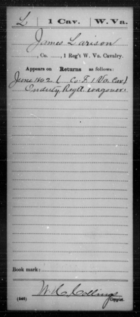 Larison, James - Age [Blank], Year: 1862 - Miscellaneous Card Abstracts of Records - West Virginia